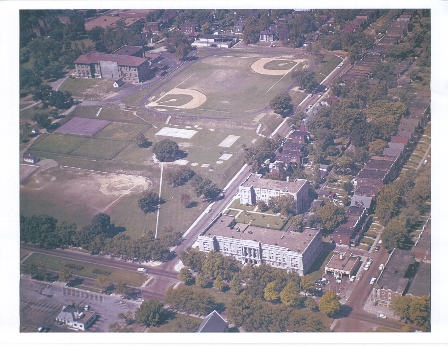 Aerial photo of McBride High School from the 1960s